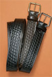 Men's 1 1/2 Basketweave Embossed Belt - Black